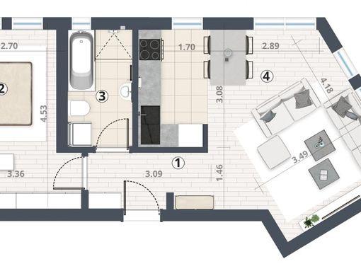 2,0 soban - 49m2 - Podbara - 1270e/m2 - slika 3