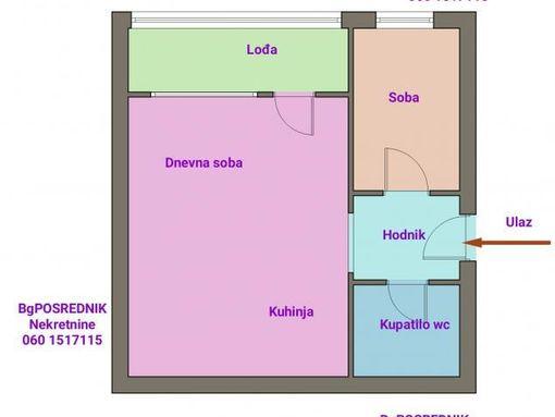 Palilula, Borča, Mihaila Šolohova  42 m2, Mihaila Šolohova - slika 2