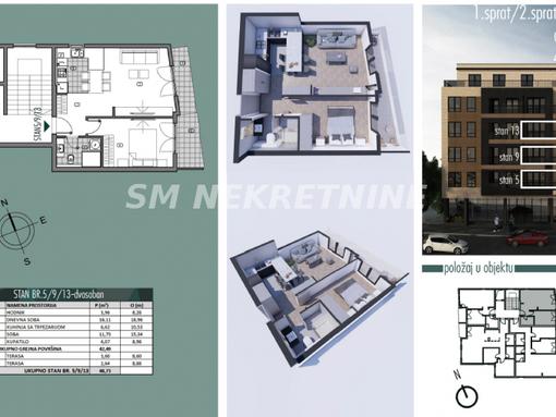 Banovo brdo, centar nov stan 49m2, Požeška - slika 2